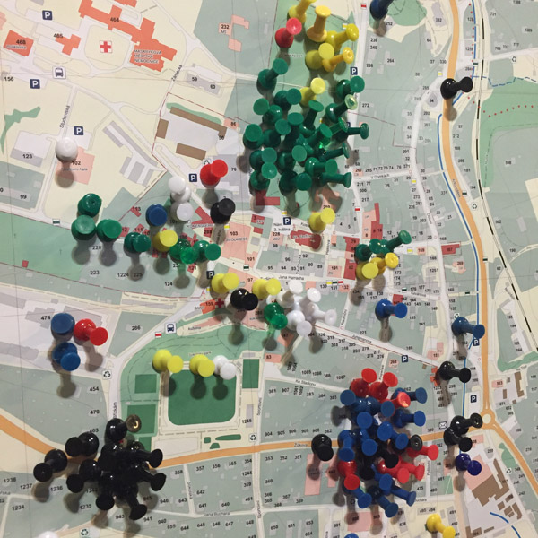 Figure 3. Example of using colourful pins for creating an emotional map in 2016.