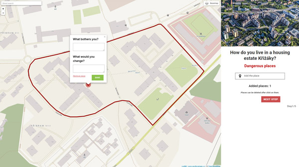 Figure 5. The web application created for participatory consultation on a neighbourhood revitalisation plan in Příbram, the Czech Republic, in 2015.