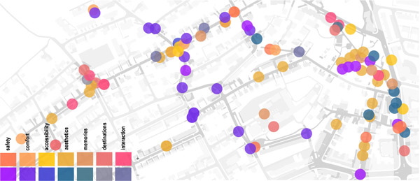Figure 1. An extract of an overview visualization showing all localized data chunks, their categorization, and valence. The background map is subtly emphasized within a buffer of 20 meters around the routes, to show the area covered by the walking interviews. Clicking the points allows the user to view the original data chunks.