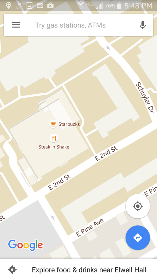 Figure 2. The other Starbucks on Bloomsburg University's campus in the Google Maps mobile app.