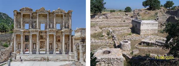 Figure 5. The library of Celsus at Ephesus (left) and the Sanctuary at Troy (right). Although both sites would benefit from the inclusion of identification signage, the scene on the right would benefit the most. Left: Photo by Behn Lieu Song, 2010. bit.ly/39kmQLn. Right: Photo by Jennifer Tanabe, 2006. bit.ly/2vDNm3s.