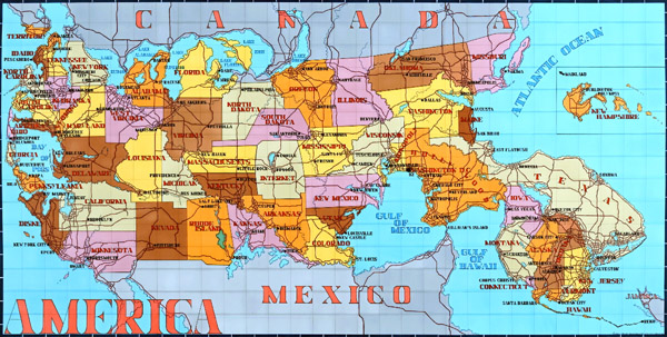 """America (Key Map of the States and their Capitals). Ink on paper, 34"""" × 64"""". 2008."""