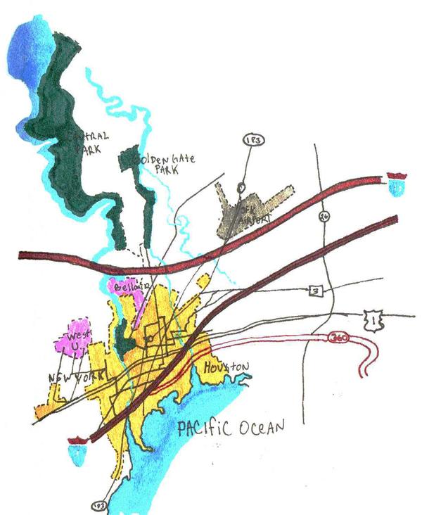 New York–Houston journal drawing, around 1995.