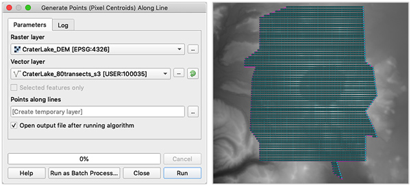 Figure 10. This specific tool generates one sample point per raster grid cell, which is often overkill and can produce an unnecessarily large file size. Proceed with caution.