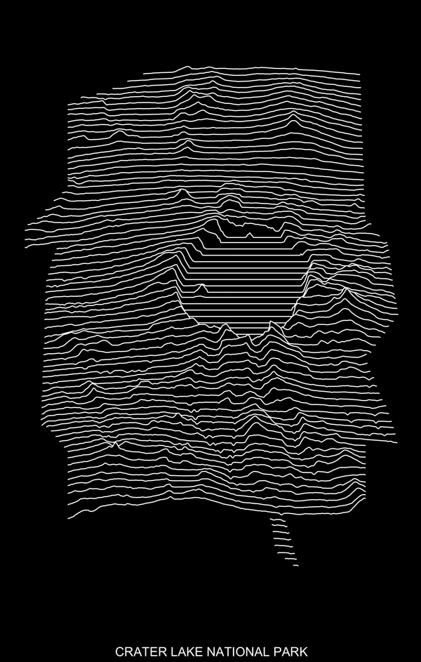 Figure 12. Crater Lake National Park in the iconic style of Unknown Pleasures.
