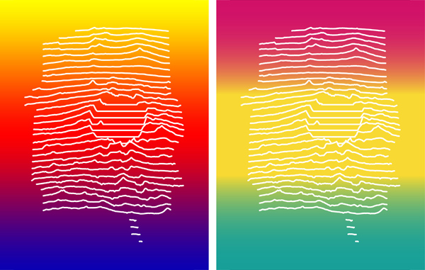 Figure 17. Background gradients created in Photoshop (left) and Illustrator (right).