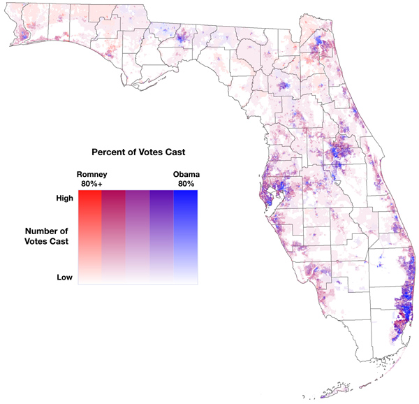 Figure 9. An example of the range model, showing the number of votes cast in areas with a given level of support for a candidate. Data are 2012 precinct-level election results reported to the Florida Division of Elections, disaggregated to census blocks (spatial interpolation weighted for population 18 years and older), then disaggregated to a 1km grid.