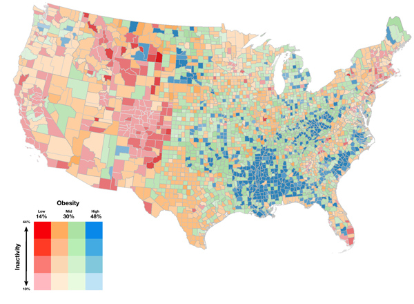 Figure 13. Range model of obesity and inactivity in the lower 48 states.