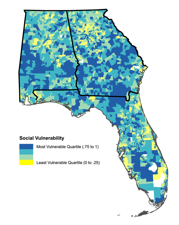 Figure 1. Univariate social vulnerability data, by census tract, for Alabama, Georgia, and Florida.