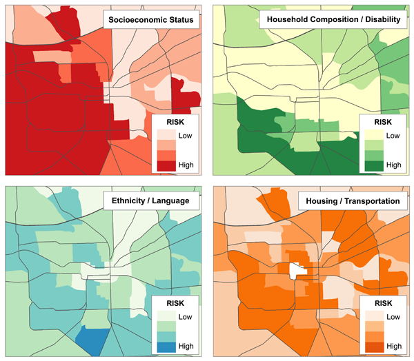 Figure 2. Univariate maps representing the risk quartiles of each of the four themes of social vulnerability (see Table 1) for Tallahassee, Florida.