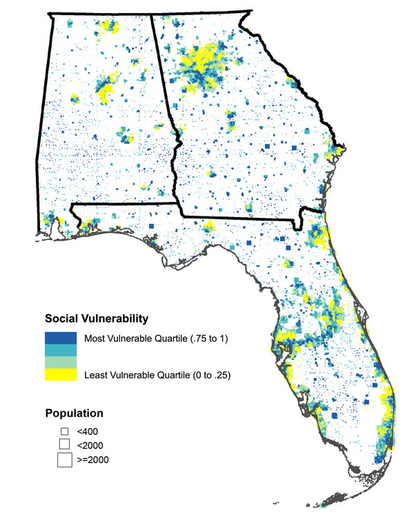 Figure 3. Bivariate map of Alabama, Georgia, and Florida showing the social vulnerability index and population density. Contrast with Figure 1.