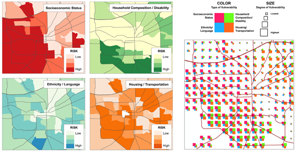 Figure 10. Left: Univariate maps of the four vulnerability themes. Right: Multivariate map of the same area using glyphs to depict the same data.
