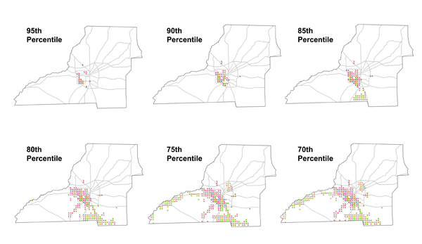 Figure 11. Leon County data filtered by percentile. At least one vulnerability index must be above the threshold indicated next to the map. Figures 13, 14, and 15 show larger images.