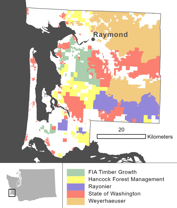 Figure 9. Land owners with the largest holdings in Pacific County, as determined from GIS tax parcels data obtained from the county in 2019.