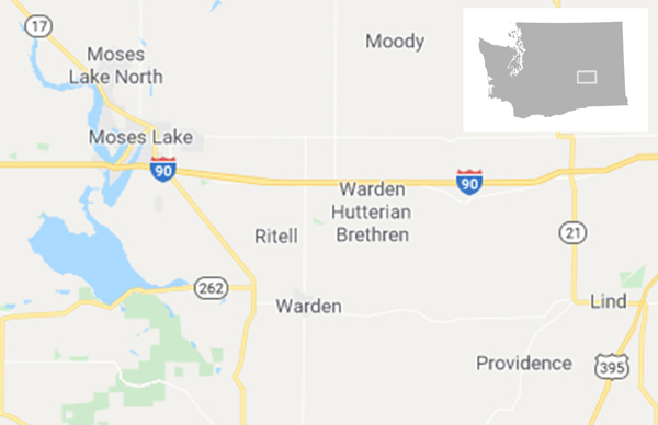 Figure 13. Hutterite colony in Eastern Washington filling space in Google Maps (January 2020). Overview map added by author.