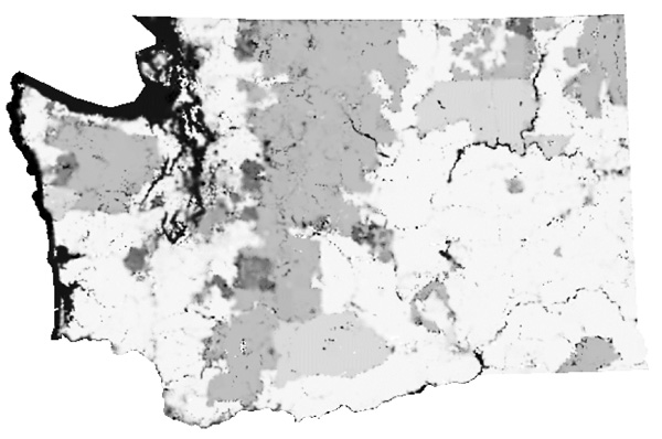 Figure 3. Interpolated surface for OpenStreetMap, showing generally light and dark areas.