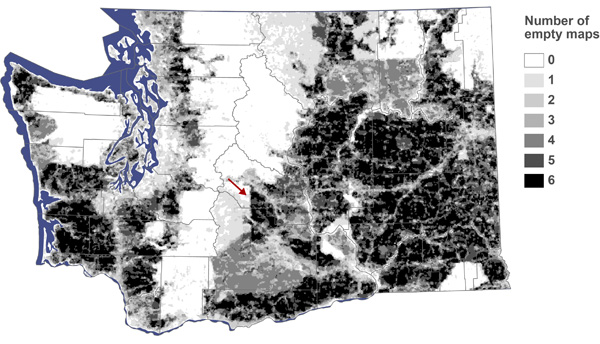 Figure 5. Composite result for the automated method showing number of maps that were empty for each raster cell. The arrow indicates a division between state- and federally-managed public lands.