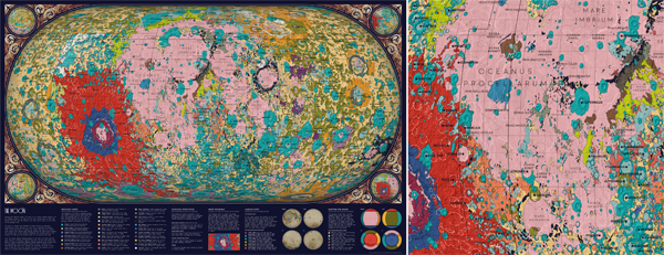Figure 1. The completed map (left) and a detail section (right) showing Oceanus Procellarum.