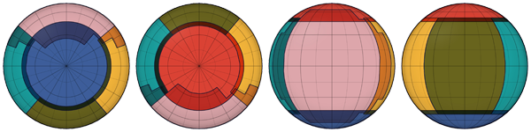 Figure 6. The extent of each dataset mapped on the southern (far left), northern (left), near (right), and far (far right) hemispheres. Each color visualizes one dataset included in the set of six.
