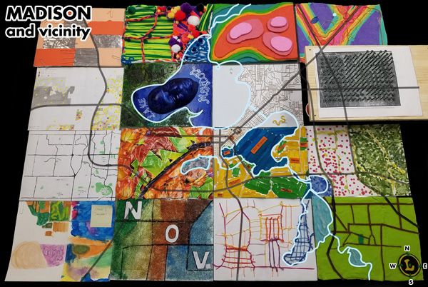 Figure 1. Madison and Vicinity, a tangible map quilt created collectively by an advanced cartography class at the University of Wisconsin–Madison. Shot at an angle of approximately 60° to capture the verticality of the design, with some roads and water features superimposed for context. Data source: OpenStreetMap; Photo: Robert Roth.