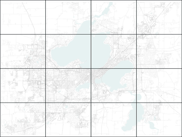 Figure 2. The initial tangible map quilt basemap of Madison with an overlay showing the location of slices for the individual tiles. Data source: OpenStreetMap.