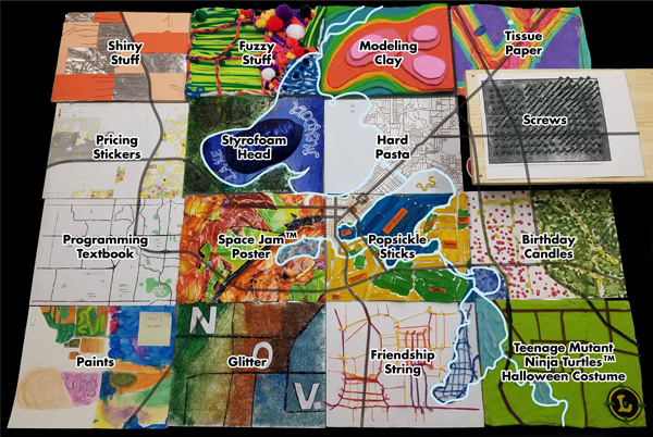 Figure 6. Materials used for the Madison and Vicinity tangible map quilt.