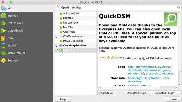 Figure 3. QGIS Plugin Manager showing OSM plugins.