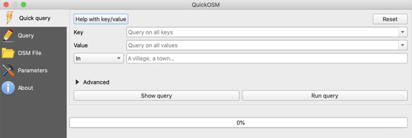 Figure 6. QuickOSM Quick query user interface, showing options to filter data.