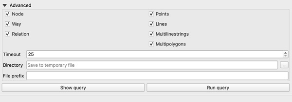 Figure 11. Advanced settings let us select data types, specify timeout settings, and choose where to save data.