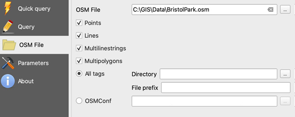 Figure 15. OSM file import options.