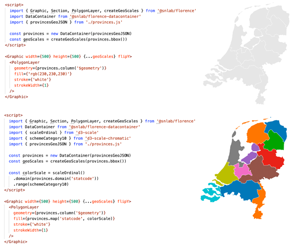 """Figure 8. A map of Dutch provinces. Dutch spatial data is often provided in a country-specific projection and coordinate system (""""Rijksdriehoeksstelsel""""), which isn't compatible with most JavaScript mapping libraries that rely solely on WGS84. The bottom panel shows a categorical colour scheme applied to the province name. Interactive version available at florence.spatialnetworkslab.org/examples/cp-figure8a and florence.spatialnetworkslab.org/examples/cp-figure8b."""