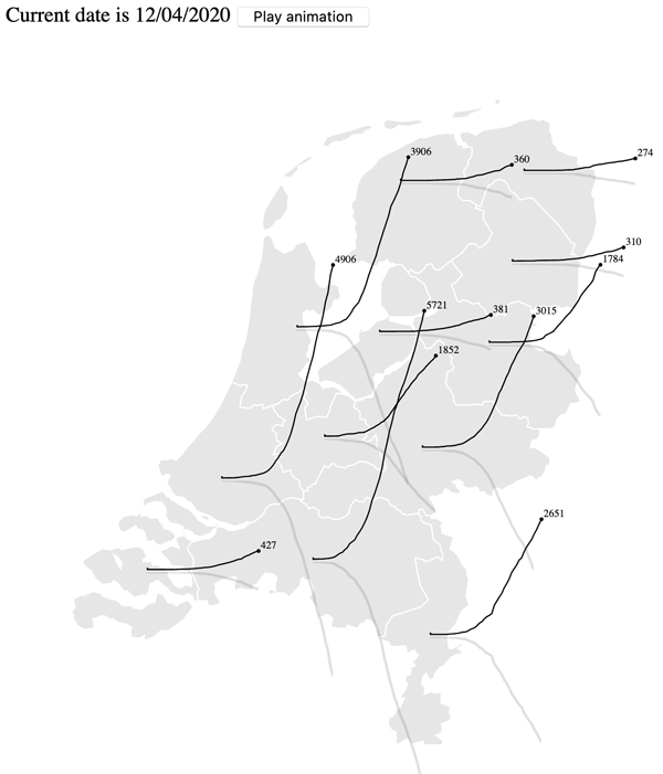 """Figure 10. """"Map sparklines"""" as an example of micro diagrams. Used here to show the evolution of COVID-19 cases in different Dutch provinces in an animated manner. Code and interactive version available at florence.spatialnetworkslab.org/examples/cp-figure10."""