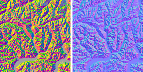 Figure 1. Two methods for displaying surface orientation. Left: an aspect-slope map. Right: a normal map.