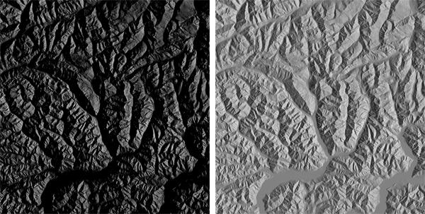 Figure 5. Left: A Lambert hillshade lit from the eastern horizon. Right: The normal map's x-band, or the same Lambert hillshade before the final step of the algorithm was performed.