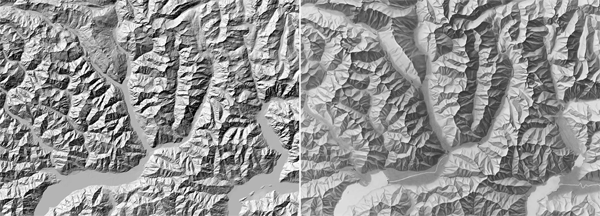 Figure 7. A standard analytical shaded relief (left) compared with a manual shaded relief by Imhof and Leuzinger (1963; shadedreliefarchive.com/Graubuenden_SW.html; right). Despite deviating from what more physically accurate lighting would portray (or because it deviates from it), this style is better able to communicate a mental map of the relative significance of topographic features.