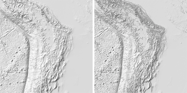 Figure 8. A comparison of an Andes hillshade based off generalized (left) and ungeneralized (right) elevation data. The area northeast of center is an especially good demonstration of how Lambert shading with an ungeneralized elevation raster can obscure large features.