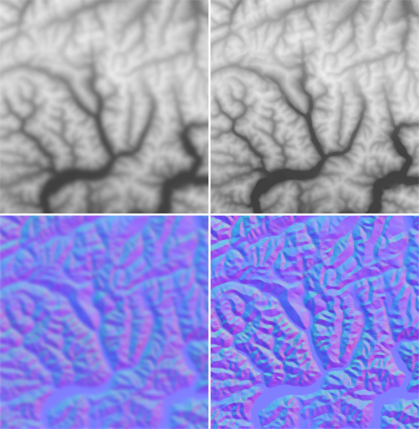 Figure 10. Comparison of Gaussian (left) and median (right) filters on an elevation raster (top) and a normal map (bottom). The normal median (lower right) has the best results in terms of eliminating noise while preserving scale-specific features of cartographic interest, and thus is used in the modified pyramid generalization algorithm