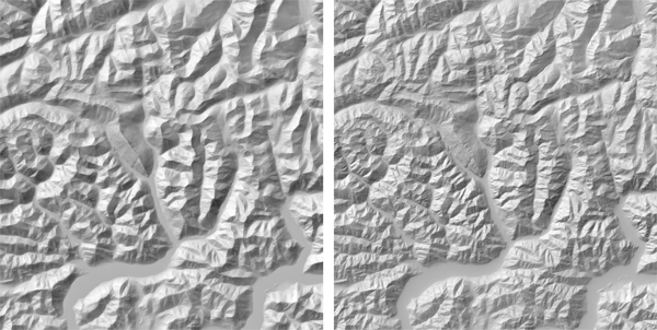 Figure 12. Normal median generalization (left) with exponential weights allows for very strong generalization of small features without blurring large features. In Pyramid Shader (right) the same terrain, with the same number of pyramid levels, cannot have its weights reduced further than what is shown here without visibly blurring the ridgelines and valley edges of large-scale features.
