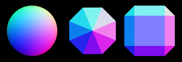 Figure 14. A reference for unit vector colors on, left to right, a sphere, a faceted cone with a slope of 45°, and a beveled cube.