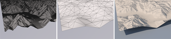 Figure 4. A dense mesh (left) may not draw fast enough for an interactive display, while a simplified version (center) may draw quickly but lack the desired detail. A normal map generated from the full-resolution mesh can be used to override the simplified geometry's normals during shading (right), giving the benefits of both.