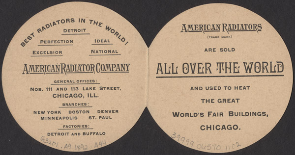 Front (top image) and back (bottom image) of a trade card of the American Radiator Company (1892).