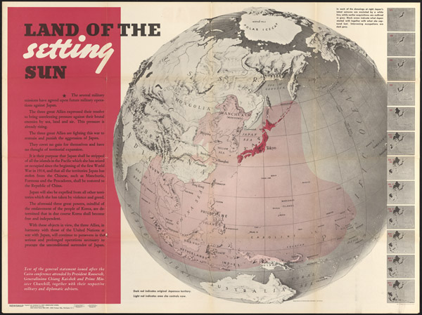 "Richard Edes Harrison and US Morale Services Division of the Army Service Forces, ""Land of the Setting Sun,"" Newsmap (December 27, 1943)."