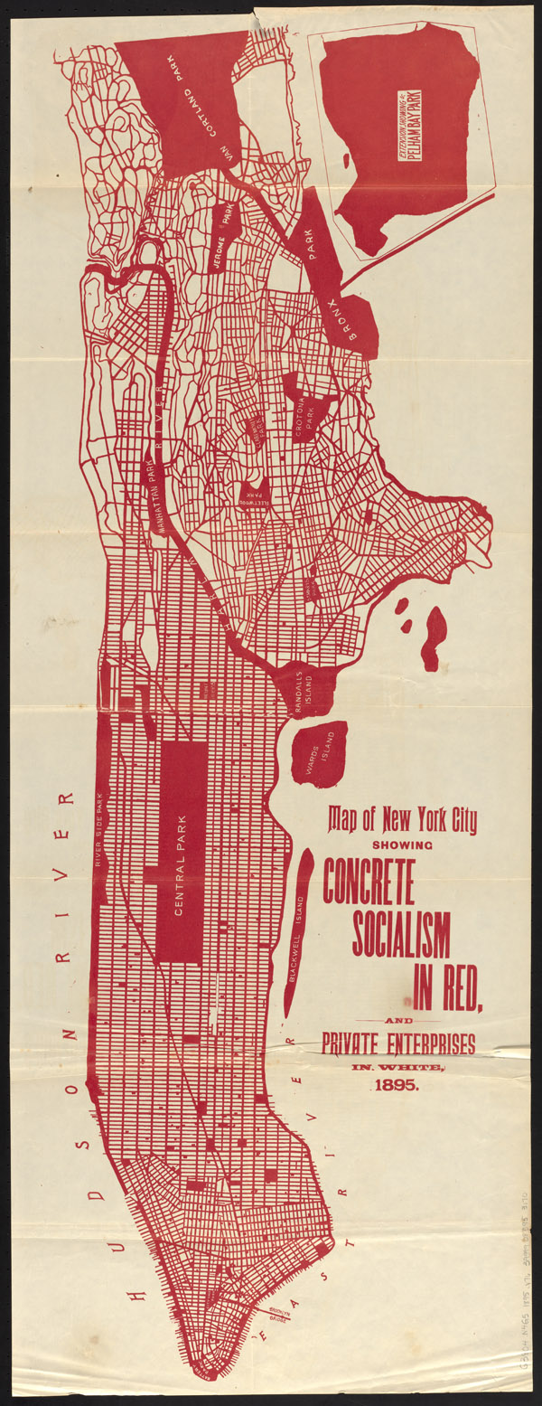 "Walter Vrooman, ""Map of New York City showing concrete socialism in red, and private enterprises in white, 1895,"" in Government Ownership in Production and Distribution (Patriotic Literature Publishing Co., 1895)."