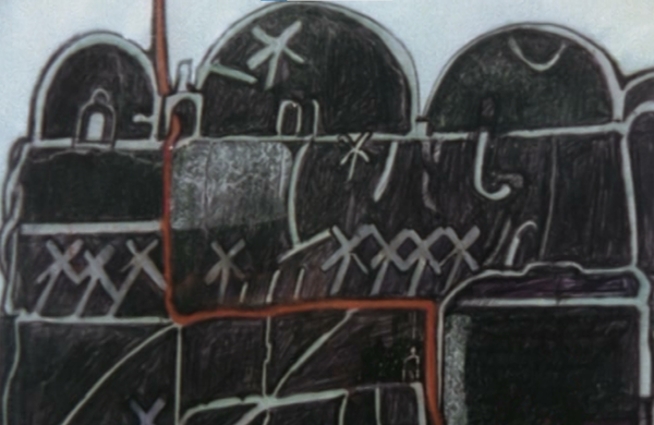 Figure 12. Peter Greenaway. 1978. Map 19 detail. This drawing was bought on the traveler's behalf.