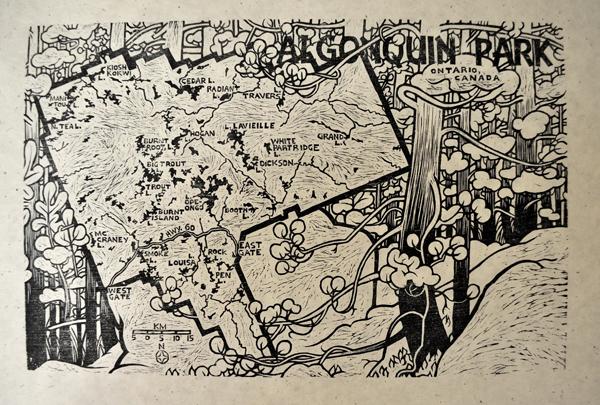"""Woodcut map of Algonquin park, 18×11.5"""""""