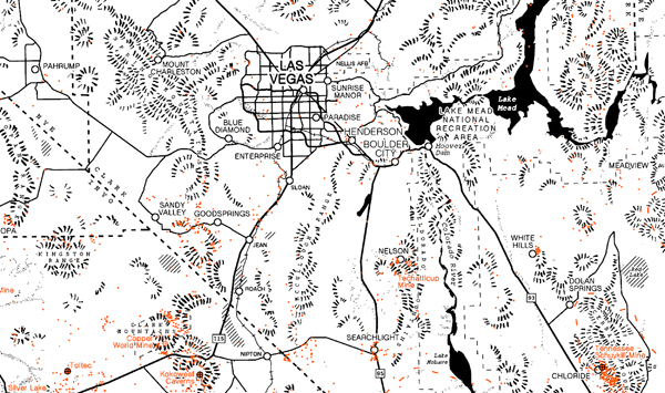 Detail of a map of mines in the Mojave Desert. Hachures were drawn by hand, and all other elements were created in ArcGIS Pro.