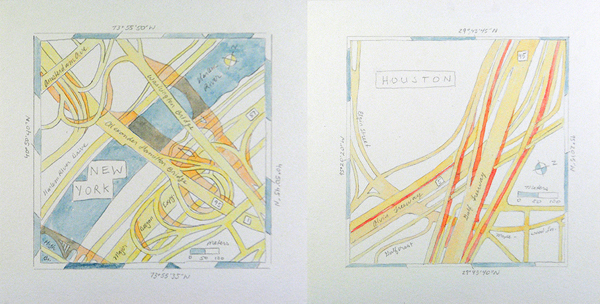 Highway interchanges in New York and Houston.