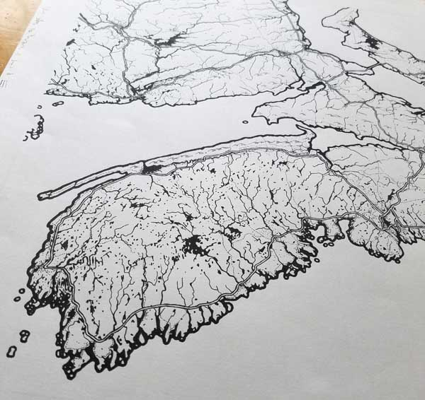 Hand-drawn map before any post-processing.