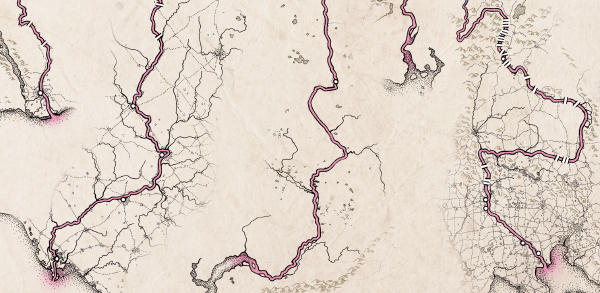 Details of a map drawn for National Geographic, after processing in Photoshop, before labels and other text were added by Christina Shintani.