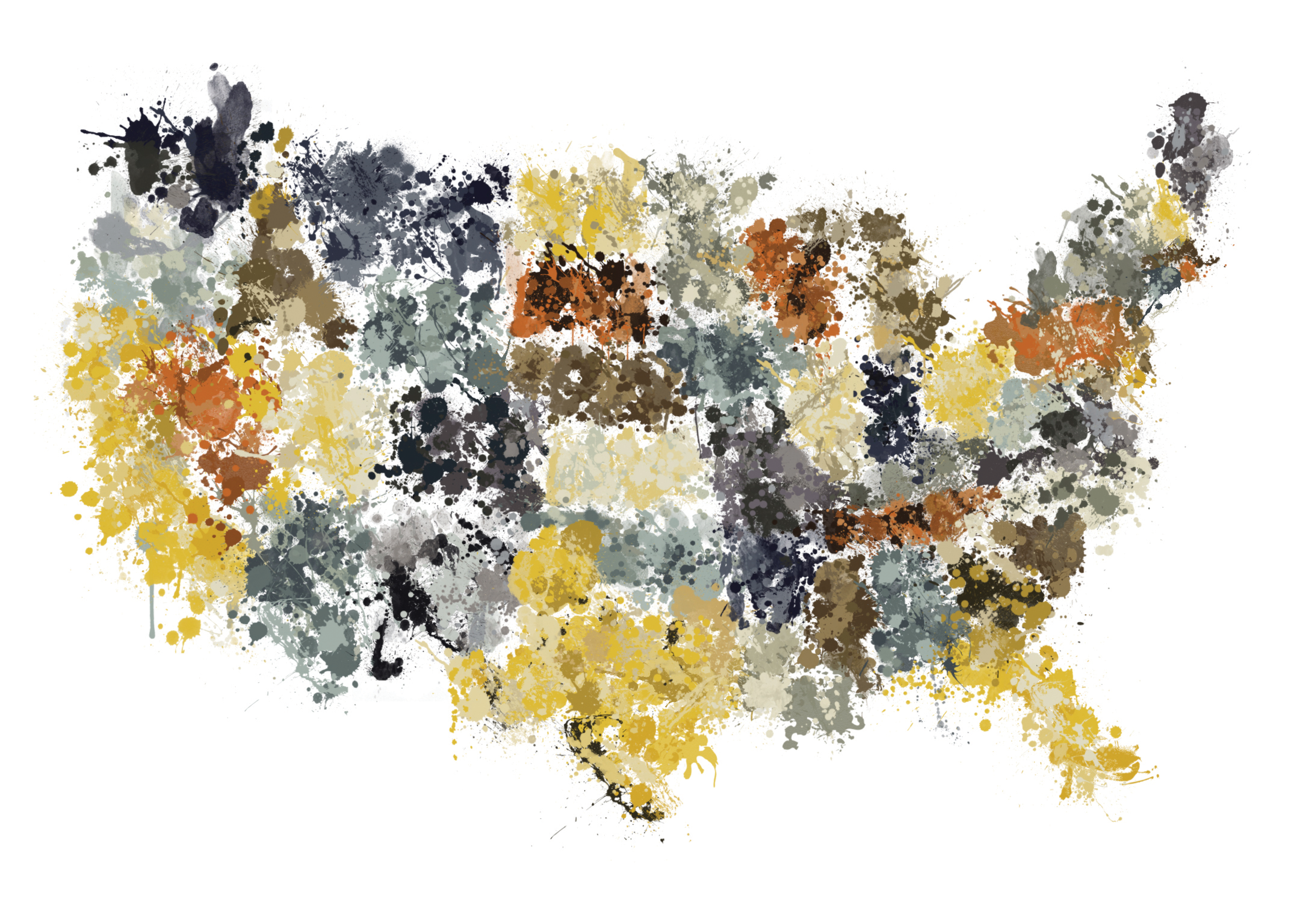 Bogus Art Map inspired by the style of Jackson Pollock